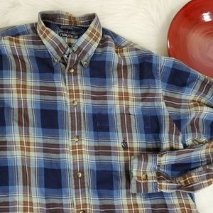 Nautica Flannel Shirt Plaid Long Sleeve Button Up